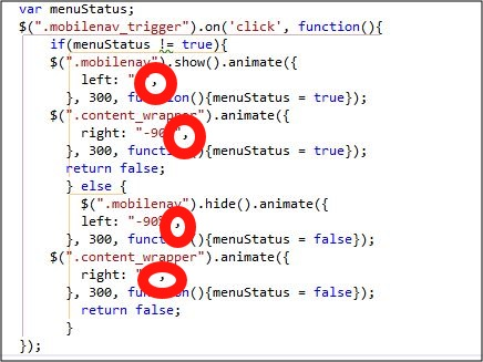 The javascript code with the IE7 bug highlighted